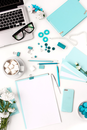 girl notebook: Still life of fashion woman,  top view of blue fashion woman objects on white. Concept of female mockup