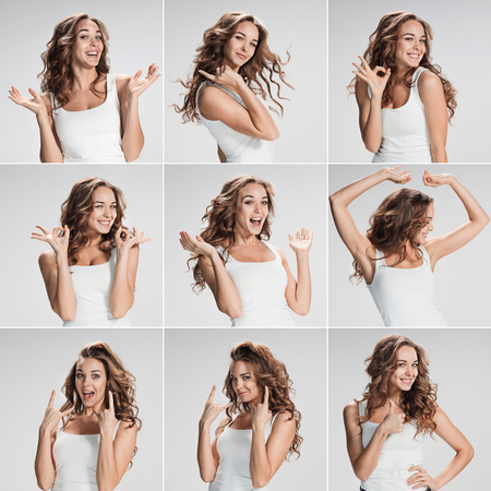Set of young womans portraits with different happy emotions on gray background