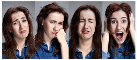 sicken: Set of young womans portraits with different emotions on gray background. Concept headache and toothache