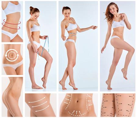 Collage de cuerpo femenino con las flechas de giro. Perder grasa, la liposucción y el concepto de eliminación de la celulitis.