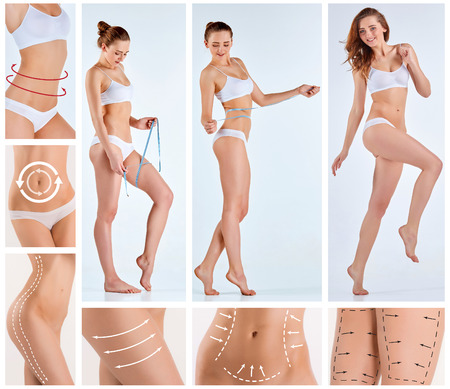 Collage des weiblichen Körpers mit den Zeichen Pfeile. Fett zu verlieren, Fettabsaugung Beseitigung Konzept.