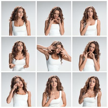 desprecio: El collage de portraites de mujer pidiendo con diferentes emociones en gris