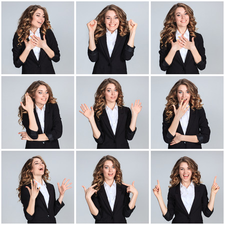 The collage of young woman's portrait with happy emotions on gray background