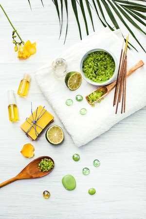 aroma: Spa setting with sea salt and aroma oil, vintage style Stock Photo