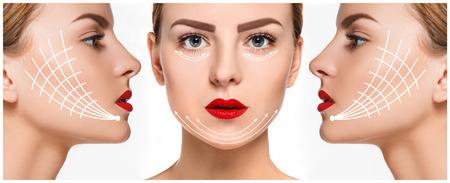 collage caras: La cara de mujer joven con la piel, anti-envejecimiento y la elevaci�n del hilo concepto fresco y limpio Foto de archivo