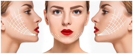 antiaging: The young female face with clean fresh skin, antiaging and thread lifting concept