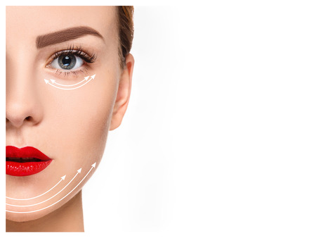 filler: The young female face with clean fresh skin, antiaging and thread lifting concept