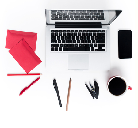 comfortable: Concept of comfortable workplace. Gadgets on the white desk