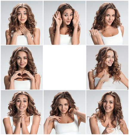 face expressions: Set of young womans portraits with different happy emotions on gray background