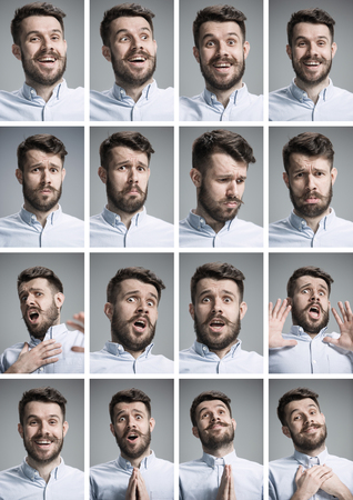 multiple: Set of young mans portraits with different emotions on gray background Stock Photo