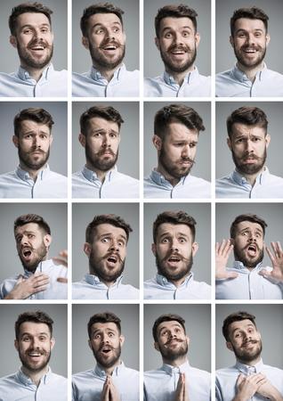 Set von jungen Porträts des Mannes mit verschiedenen Emotionen auf grauem Hintergrund