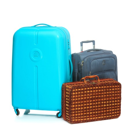 lugage: The modern and retro suitcases on a white background Stock Photo