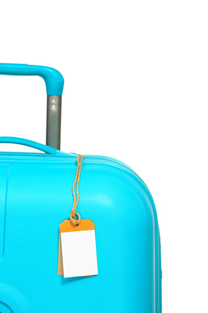 lugage: The modern large suitcase on a white background