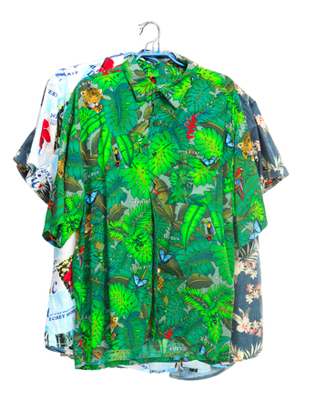 caribbean cruise: The three isolated tropical shirts on white Stock Photo