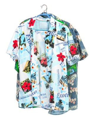 The two isolated tropical shirts on white Stock Photo