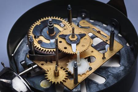 old macro: The macro view of old clock mechanism Stock Photo