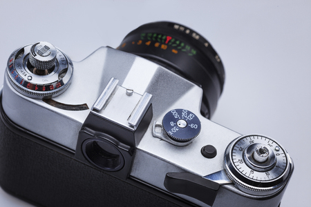 The macro view of old retro camera lens