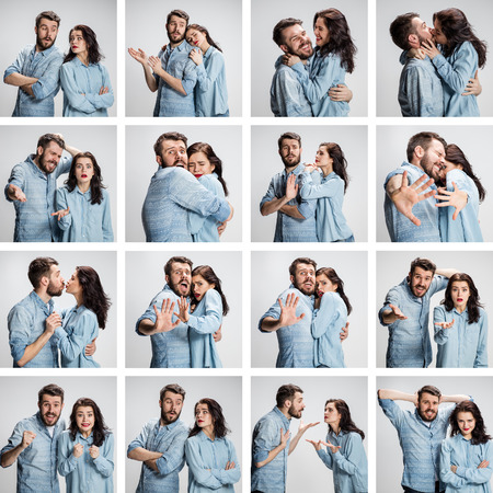 The collage from images of couple with different emotions on gray background