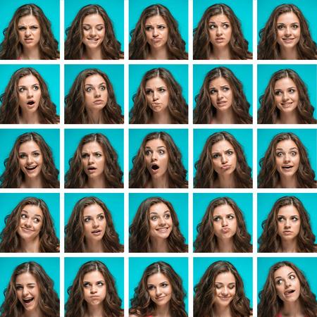 De reeks jonge vrouwenportretten met verschillende gelukkige emoties Stockfoto