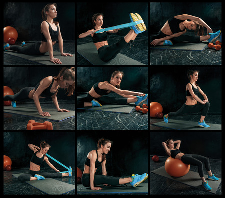 fitball: The collage from images of beautiful young slim woman doing some gymnastics at the gym with fitball