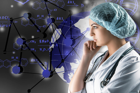 topics: Collage on scientific topics. Young female doctor standing on gray background. Global wireless connection concept and research scientists