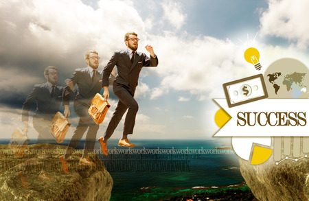 impediment: Image of young businessman jumping over gap. concept of career success