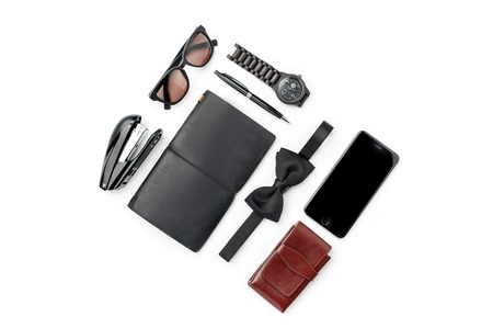 Still life of casual man. Modern male accessories on white background