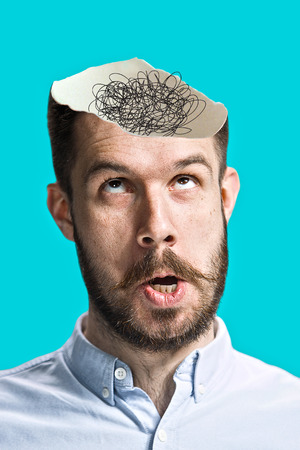 minded: Conceptual image of a open minded man with copyspace Stock Photo