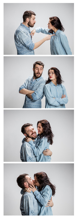 The funny man and woman communicating on a gray background. concept of love of couple. Collage Stock Photo