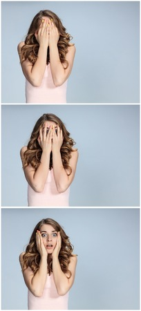 Portrait of young woman with shocked facial expression. girl covering face with hands. collage