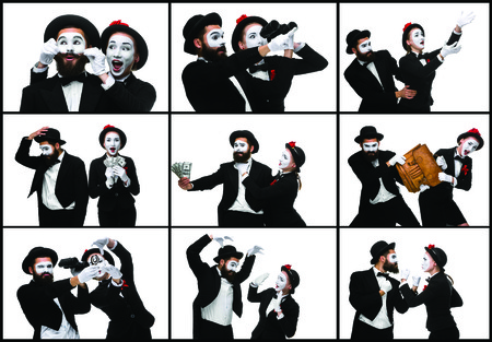 memes: The collage from images of two memes as business man and woman fighting on white background. the concept of the struggle for power and position