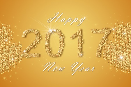 new year eve: Happy New Year 2017 background. Calendar template. Colorful, hand drawn paper typeface on celebration background. Greeting card.