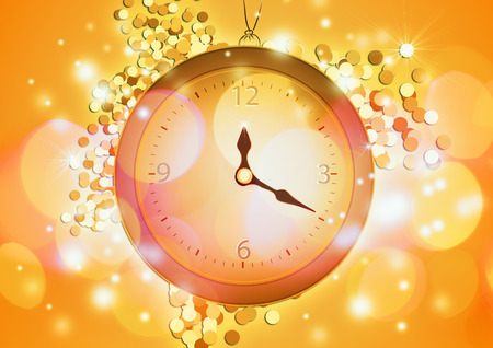 Happy New Year 2017 background. Clock template. Celebration and greeting card. Stock Photo