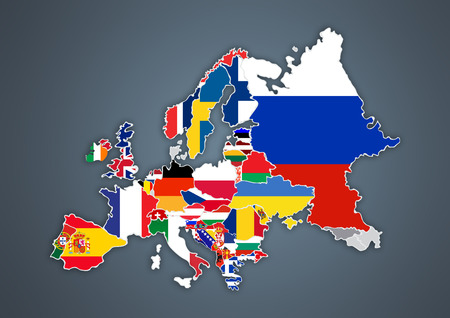 European map with national borders with countries flags Stock Photo
