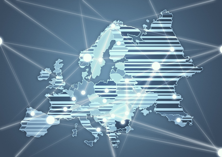 Color Country Map of Europe Stock Photo