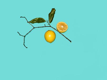 The fresh lemons on blue background