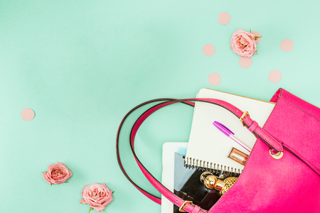 The female personal items on desktop Stock Photo