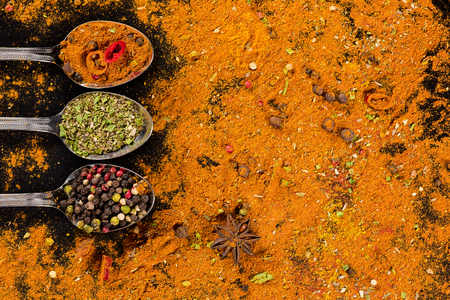 metal textures: Herbs and spices selection - cooking, healthy eating Stock Photo