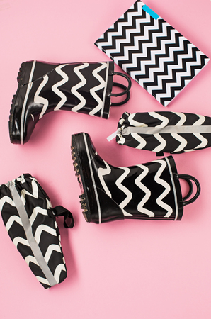 The Black and white rubber boots or gardening boots