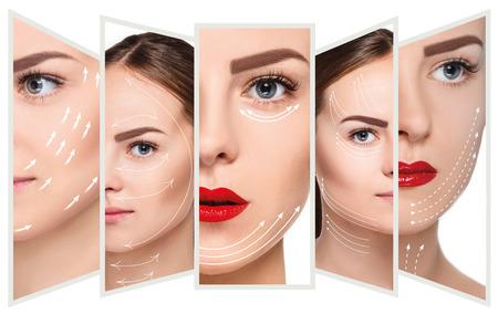 Het jonge vrouwelijke gezicht. Antiaging en draad lift concept