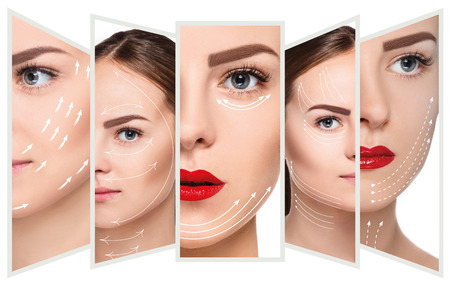 The young female face. Antiaging and thread lifting concept Zdjęcie Seryjne