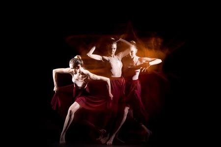 The sensual and emotional dance of beautiful ballerina Stock Photo
