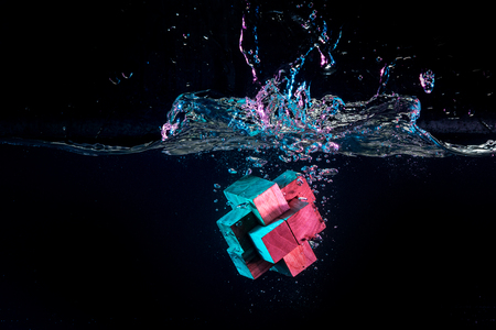 Water splash with puzzle effect Stock Photo