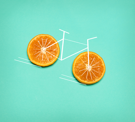 Healthy lifestyle concept - bike with orange wheel Stock Photo