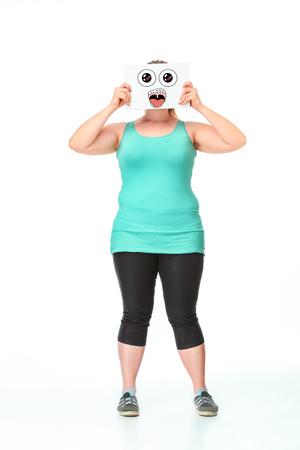 Dieting concept, schattig meisje had haar gezicht en mond gesloten