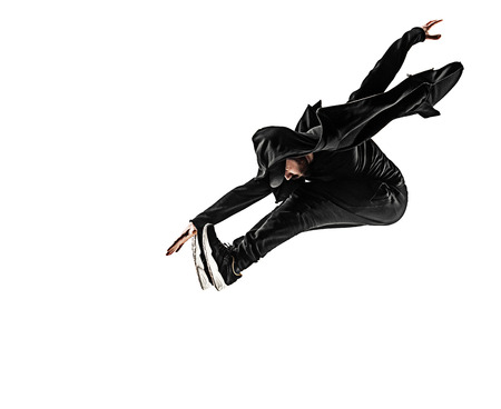 The silhouette of one hip hop male break dancer dancing on white background Stok Fotoğraf