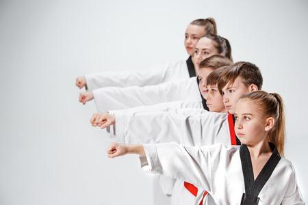 De studio-opname van de groep van kinderen training karate vechtsporten