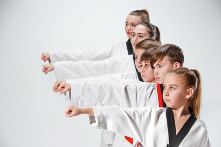 The studio shot of group of kids training karate martial arts Archivio Fotografico