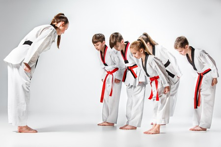 The studio shot of group of kids training karate martial arts Stock fotó