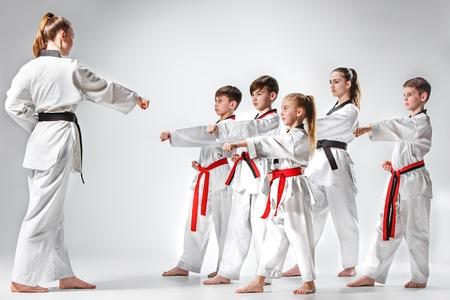 Il colpo di studio del gruppo di ragazzi che allenano le arti marziali di karate Archivio Fotografico - 75551547